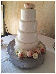 Lace and Peonies wedding cake