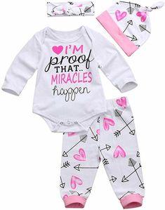 BURFLY Baby Boys Girls IM NEW HERE Print Long Sleeve Romper Arrows Print Pant Cap