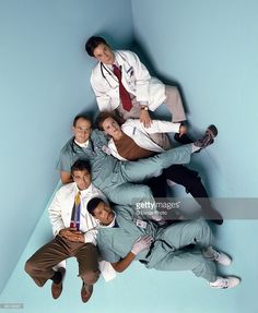 The original cast members of ER pose at a portrait session for Entertainment Weekly Magazine in 1994. From top: Noah Wyle, Sherry Stringfield, Anthony Edwards, George Clooney and Eriq La Salle.