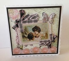Shabby Chic Collage Mini Kit 7 on Craftsuprint designed by June Harrop - made by Sheryl Tully - I printed out both sheets from the kit on to Crafty Bobs matte photo paper and cut out all the elements. I layered the base image with some black card and attached it to a white scalloped card with DST. I added the decoupage elements with glue gel.  - Now available for download!