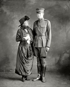 """Washington, D.C., circa 1916. ""Mrs. George Barnett and son."" Lelia Gordon Barnett, wife of the Marine Corps commandant, and her son Basil Gordon, who in 1923 became the first person to crash an airplane in the District of Columbia. Harris & Ewing Collection glass negative"""