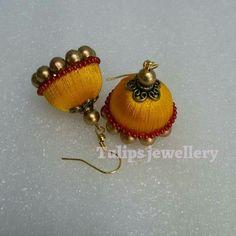 For reference only Silk Thread Jumkas, Silk Thread Bangles Design, Silk Thread Necklace, Silk Bangles, Bridal Bangles, Thread Jewellery, Thread Art, Paper Jewelry, Diy Jewelry
