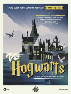 You may have heard about The Great American Read — the PBS program that highlights the 100 most loved books in the English literary canon. But have you heard that PBS has also enhanced some of those classic novels with travel posters, and their new… Novel Harry Potter, Harry Potter Poster, Library Posters, Book Posters, Reading Posters, Poster Quotes, Library Art, Real Hogwarts School, Anniversaire Harry Potter