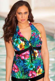 b. belle Oahu Plus Size Tie Front Halter Tankini Top Plus Size Swimwear