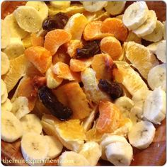 A fruit bowl for breakfast ~ 3 navel oranges, 2 bananas, 2 dates, 1 mandarin, and 1 peach.  #thefruitexperiment #fruitmeal #rawvegan