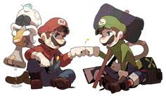 Mario y Luigi Mario Und Luigi, Super Mario And Luigi, Super Mario Games, Super Mario Art, Super Mario World, Super Mario Brothers, Mario Smash, Nintendo Game, Mundo Dos Games