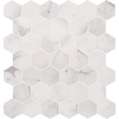 Calacatta Cressa Hexagon 12 in. x 12 in. x 10 mm Honed Marble Mesh-Mounted Mosaic Tile (9.8 sq. ft. / case)