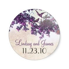 purple tree love birds wedding stickers ♥  Repinned by Annie @ www.perfectpostage.com