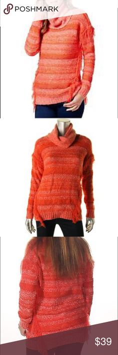 Kensie Womens Fringe Turtleneck Sweater B36 Beautiful spicy orange color combo. Sweater is 53% acrylic, 24% cotton, 14% nylon, 8% polyester, and 1% spandex. Kensie Sweaters Cowl & Turtlenecks