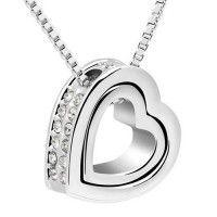 MARENJA – Collar para Mujer Doble Corazón Chapado en Oro Blanco y Cristal, 40-45cm