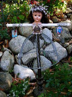 altered art jewelry doll - cute idea for fairy garden
