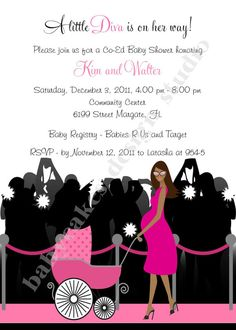 EXCLUSIVE Hollywood Diva Baby Shower Invitation Sprinkle Sip and See - DIY Print Your Own - Choose your girl on Etsy, $12.00