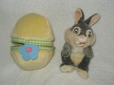 $14.87  Disney store Thumper Easter egg plush yellow flower soft cute EUC