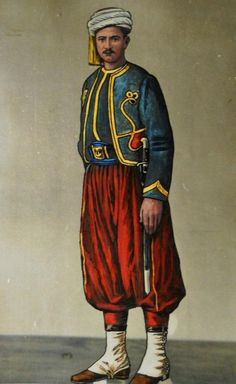 [Ottoman Empire] A Soldier from the Turbaned Regiment, 1891 (Osmanlı Sarıklı… World War One, First World, Bulgaria, The Old Curiosity Shop, Blue Mosque, Ottoman Empire, Historical Pictures, American Civil War, Historical Clothing