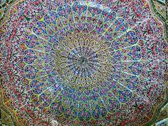 Roof of  the Nasr Ol Molk Mosque (Qajar era) at Shiraz, Fars province, Iran,