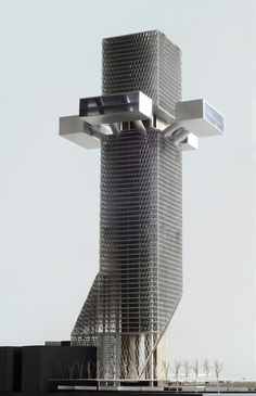 Best Ideas For Architecture and Modern Design : – Picture : – Description Phare Tower – OMA, model by Werkplaats Vincent de Rijk Oma Architecture, Architecture Antique, Concept Architecture, Futuristic Architecture, Contemporary Architecture, Amazing Architecture, Unique Buildings, Interesting Buildings, Amazing Buildings