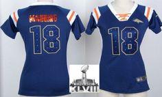 Women Nike Denver Broncos 18 Peyton Manning Blue Handwork Sequin Name Fashion 2014 Super Bowl XLVIII NFL Jerseys