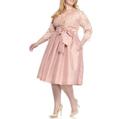 Jessica Howard Blush Plus Size Lace Top Three-Quarter Sleeve Dress -... ($102) ❤ liked on Polyvore featuring plus size women's fashion, plus size clothing, plus size dresses, blush, womens plus size cocktail dresses, v neck cocktail dress, pink lace dress, plus size special occasion dresses and holiday cocktail dresses