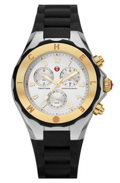 Tahitian Large Jelly Bean Two-Tone Chronograph, Yellow Golden/Black by Michele at Neiman Marcus. Gold And Silver Watch, Black Silver, Gold Watch, Michelle Watches, Black Stainless Steel, Jelly Beans, Tahiti, Black Rubber, Swagg