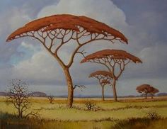 Painted in the 'Pierneef Style' Pierneef is one of the artists who has inspired me most. Landscape Art, Landscape Paintings, Landscapes, Canvas Painting Projects, African Tree, Mushroom Art, Impressionist Artists, South African Artists, Parasol