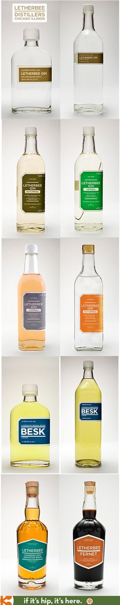 Leatherbee Distillers labels their bottled Gins, Absinthe, Besk, and Fernet with such simple labels they are almost generic looking labels.