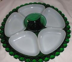 Anchor Hocking Forest green condiment set 7 pieces  $60