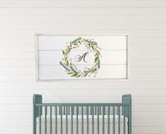 Excited to share this item from my shop: Initial sign with wreath, nursery decor, framed shiplap Wood Wedding Signs, Wood Signs, Pantry Sign, Rustic Chair, Home Decor Signs, Wedding In The Woods, Solid Pine, Color Change, Nursery Decor