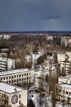 Chernobyl/Pripyat Exclusion Zone  Chernobyl visit - February 2008 View of the amusement park from the top of the 16 story residential apartment building facing the central square of Pripyat. This photo has been featured in the Beauty in Decay book!
