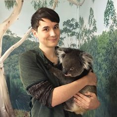 DANNY WITH A KOALA LOOK AT HOW LAME AND CUTE HE IS I LOVE THIS