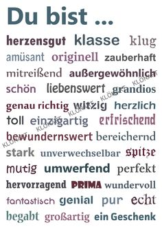 KLÖNART – card art and more postcard letters + words YOU ARE contact … – event planning - Geburtstag The Words, Cool Words, Words For Girlfriend, Disney Love Quotes, Words Quotes, Sayings, Life Quotes, Credit Card Application, German Language Learning