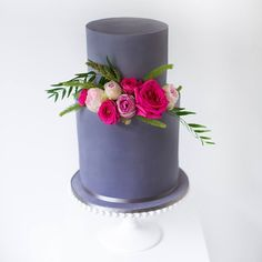 Charcoal engagement cake