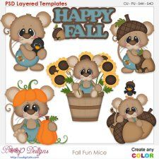 Fall Fun Mice Element Templates #CUdigitals cudigitals.comcu commercialdigitalscrapscrapbookgraphics #digiscrap