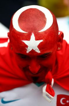 Turkey fan shows his colours ahead of the UEFA EURO 2008 Group A match between…