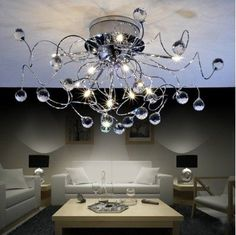 Buy 11 Light Contemporary Crystal Chandelier Lighting (Bulb Included), Chrome at Wish - Shopping Made Fun Light Fixtures Bedroom Ceiling, Bedroom Lighting, Ceiling Lamp, Ceiling Lights, Interior Lighting, Cheap Chandelier, Crystal Chandelier Lighting, Bubble Chandelier, Chandelier Ideas