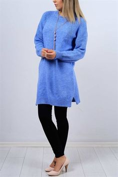 Reglan Kol Indigo Uzun Bayan Kazak 9145b Kadin Giyim Giyim Kadin