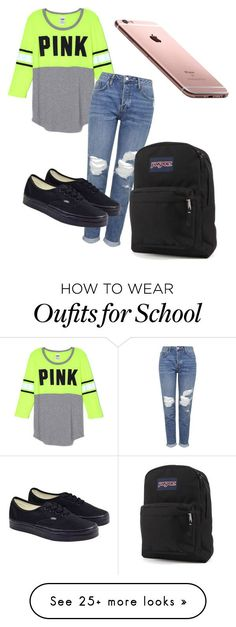 """School ootd"" by glamnoodle on Polyvore featuring Topshop, Vans and JanSport"