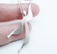 Dainty Angel Small Sterling Silver Flyer Angel Pendant