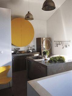 small kitchen   concrete   grey yellow white