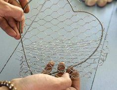 †Filled chicken-wire heart tutorial - this one is filled with stones. I like stones, but I'm also thinking large glass florist stones, sea glass, dried flowers, or soil/moss mixture for a succulent shape. Can make a variety of outdoor and indoor projects ... not sure which I will try first. :)