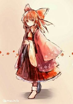 Reimu Hakurei Anime Chibi, Kawaii Anime, Anime Manga, Touhou Anime, Character Inspiration, Character Design, Anime Kimono, Chibi Girl, Estilo Anime