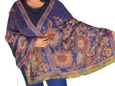 "Navy Blue Floral Warm Wool Shawl - Designer Jamawar Ladies Evening Scarf 78"""