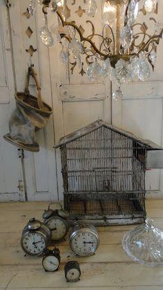 alarm clocks, old clocks, french birdcag