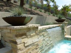 Contemporary Landscape/Yard with Private backyard, Fence, Fountain, Outdoor pool, Outdoor Round Polyethylene Delano Planter