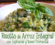 RECETA: Risotto de Arroz Integral con Espinacas y Queso Emmental | El Granero Integral Receta vegetariana, sin gluten y sin leche.