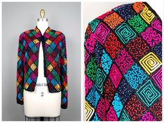 INCREDIBLE Retro Rainbow Beaded Sequined Jacket / Colorful Sequin Jacket…