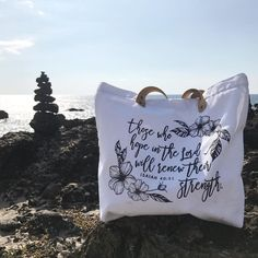 If you feel like you have hit rock bottom remember God is our breakthrough and we will come back stronger than ever... Happy Sunday everyone! .... . . 🌊SHOP: www.crossedpathsla.com . . #inspirational #quotestoliveby #bibleverse #biblequote #rockbottom #breakthrough #bestrong #havefaith #tote #totebag #inspirationaltote