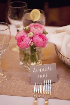 Linen or burlap table runners are more relaxed but can look nice. long farm tables with small clusters of ranunculus   Photography By / asianbeesphotography.com, Wedding Planning By / sb-events.com, Floral Design By / gardendistrictmemphis.com