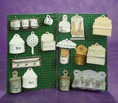Elan Auction - June 10-11, 2017 | Collection of German Miniature Accessories for Dollhouse Kitchen. $400/600 Antique Dollhouse, Dollhouse Toys, German Toys, Toy Kitchen, Small Things, Vintage Dolls, Kitchens, June, Auction
