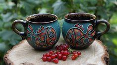 Ceramic mug Fish Set of 2 cups Ceramic mug Tea mug For children Sister gift Wife gift Pottery mug Art pottery Birthday gift