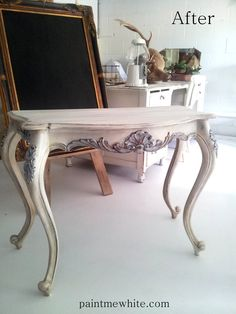 A beautiful console finished in Old White, Louis Blue and Pure White Chalk Paint® decorative paint by Annie Sloan | By Gold Coast Australia stockist Sandy of Paint Me White